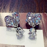 Love Glowing Crystal Firefly Fashionable Temperament Earrings Earring Silvery I13035-1