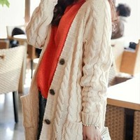 New oversize boyfriend beige cable knit cardigan from zamong-boutique