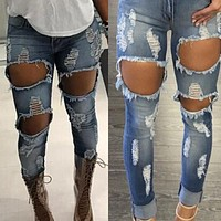 Ripped Holes Denim Skinny Pants