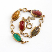 Vintage 12k Yellow Gold Filled Scarab Bracelet - Retro 1950s Carved Tiger's Eye Gem Egyptian Revival Beetle Jewelry Hallmarked Danecraft