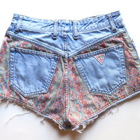 Vintage rare pair of GUESS high waisted denim shorts