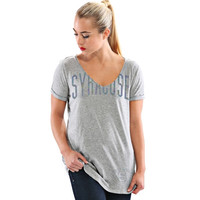 Syracuse Orange Let Loose by RNL Juniors Madison V-Neck T-Shirt - Gray