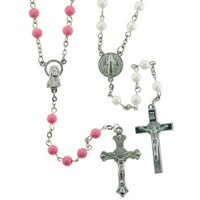 Set of 2 Rosaries in Pink and White Colors - St. Benedict Centerpiece and 4mm Beads - 28''Necklace, 19'' Overall Length