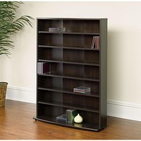 Contemporary 6-Shelf Bookcase Multimedia Storage Rack Tower in Brown Finish