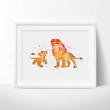 Lion King Simba + Mufasa Watercolor Art Print