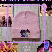 Pink beanie Spring Breakers by ROUKEYS on Etsy