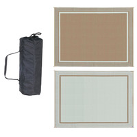 9' x 12' Outdoor Area Rug Mat with Modern Double Border Design in Brown and Beige