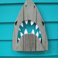 Shark art made of recycled fence wood JAWS Great by JohnBirdsong