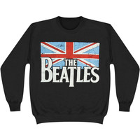 Beatles Men's  Distressed British Flag Crew Sweatshirt Black Rockabilia
