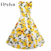 Floylyn Women Dress Yellow Summer Audrey Hepburn 50S 60S Vintage Dresses Vestidos Plus Size