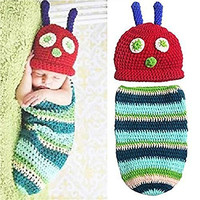 Kalevel Cute Cartoon Caterpillar Style Infant Newborn Baby Girl Boy Crochet Beanie Hat Clothes Baby Photograph Props