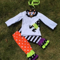Halloween Witch Outfit, Girls Halloween Outfit, Girls Personalized Halloween Outfit, Polka Dot, Ruffle Pants, Personalized, Halloween Girls