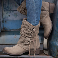 Hit The Road Cutout Tie Detail Suede Boots (Taupe)