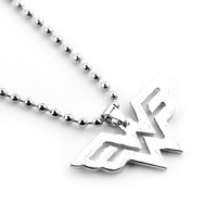 DC Wonder Woman Logo Pendant Comic Geek Necklace with Leather Cord Marvel Super Heroes Jewelry