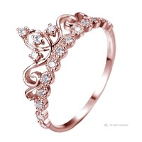 Dainty 925 Sterling Silver Crown Ring / Princess Ring (Rose Gold Plated)