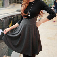Gray and Black Long Sleeve High-Waist Mini Dress