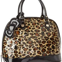 Hello Kitty SANTB0616 Satchel,Black/Brown/Gold,One Size