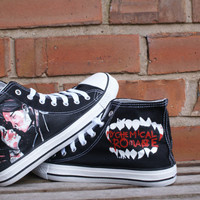 My Chemical Romance hand painted canvas high tops, made to order.