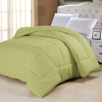 Full Size Comforter in Solid Sage Green Yellow Microfiber
