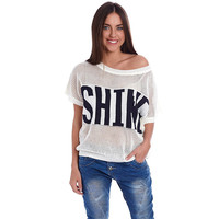 Women's Cream Knit Sweater With Shine Slogan