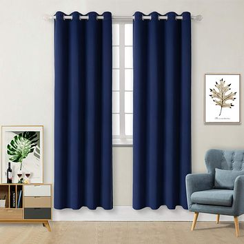 BGment Blackout Curtains for Living Room - Grommet Thermal Insulated Room Darkening Curtains for Bedroom, Set of 2 Panels (52 x 84 Inch, Navy Blue) 52W x 84L