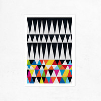Triangles N.1.  (colorful & black). Geometric Illustration print (A4). (Special offer: Buy 2 prints, get a 2013 calendar for free)