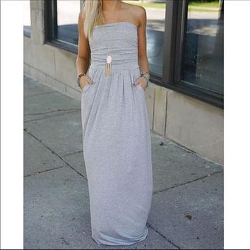 Gray chic tube maxi dress with side pockets