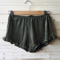 A Babydoll Night Short in Crushed Olive