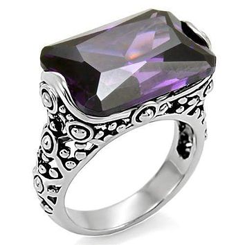Vintage Rings TK015 Stainless Steel Ring with AAA Grade CZ in Amethyst