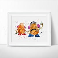Mr. & Mrs. Potato Head Watercolor Art Print