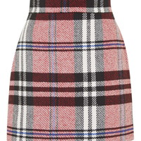 PETITE Checked Twill High-Waisted Skirt - Topshop