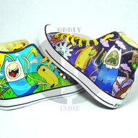 Adventure Time Zombie Time Adult / Youth Hand Painted High Tops