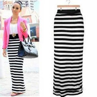 Black/White Striped Rayon Long Maxi Skirt