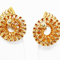 Unusual, Rare Gold Tone Spiral Wire Earrings - Signed Hattie Carnegie Clip on Earrings - Large Chunky Retro Mod Jewelry Vintage 1960s 1970s