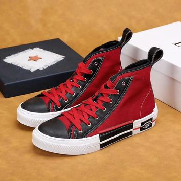 Dior Men's Leather Fashion High Top Sneakers Shoes
