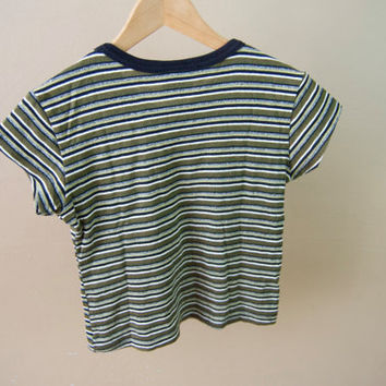 90s Striped Green Crop Top - Striped Crop Top V Neck Crop Top Striped Tee 90s Crop Top Green Crop Top Jersey 90s Clothing 90s Shirt Striped