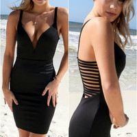 Miami Firecracker Black Strappy Spinal Cord Bodycon Dress