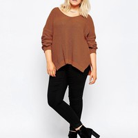 ASOS CURVE Ultimate Chunky Jumper with V Neck