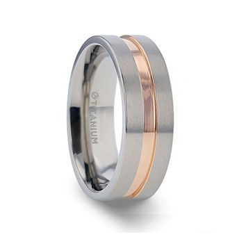 MARS Titanium Flat Brushed Finished Men's Wedding Ring With Rose Gold Plated Groove Center - 8mm