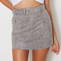 Sexy Suede Women Fashion Skirt Zipper Sashes Double Pocket Party Short Mini Ladies Skirts