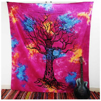 Multi Tye Dye Tree Of Life Tapestry Wall Hanging Dorm Bedspread – TheNanoDesigns