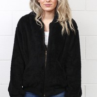 Fuzzy Plush Fleece Bomber Jacket {Black}