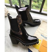 "Hot Sale ""Louis Vuitton"" LV Trending Women Stylish High Heels Shoes Boots Coffee/Black I-ALS-XZ"