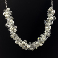 Pearl and Crystal Clear Glass Beaded Necklace - One of a Kind - Wedding Necklace - Little Black Dress Necklace