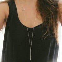 1pc european design fashion woman simple gold plated delicate clavicle chains circle bar long necklace womens jewelry colar