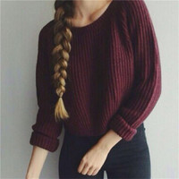 Wine Red Women Sweater Pullover 2017 Autumn Knitted Sweater Vintage O-neck Loose Sweaters Fall Warm Solid Jersey Mujer Big Size