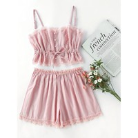 Contrast Lace Cami With Shorts Pajama Set PINK