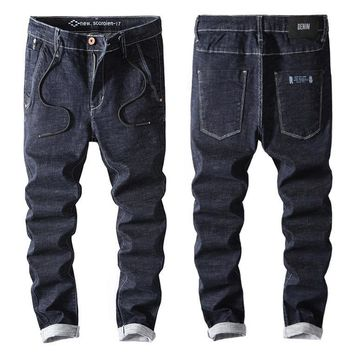 Men Blue Slim Stylish Pants Jeans [402185060381]