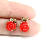 Rose Stud Earring, Rhinstone Post earrings, Antiqued brass, Affordable Small Simple Cute Stud Earrings, Cheap and cute gift for her
