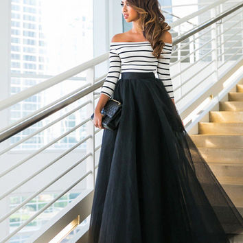 Striped Top Maxi Party Tule Skirt Set